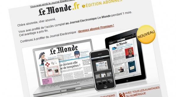 Le Monde.fr : emailing pour lancement iPad / Journal Electronique