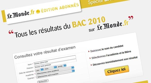 Le Monde.fr : emailing pour résultats du BAC 2010